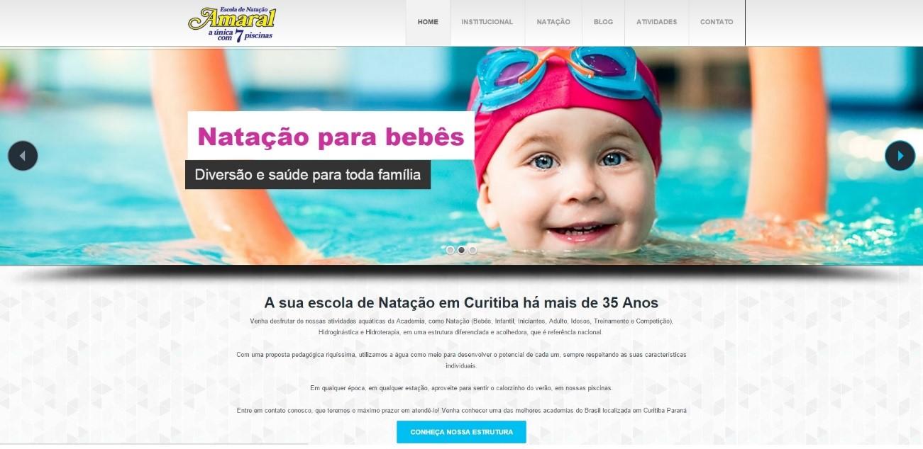 Novo site da Amaral Natação: muito mais moderno e atrativo
